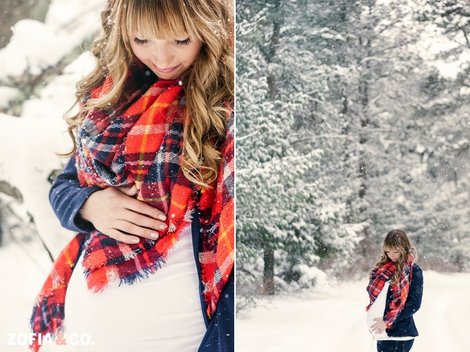 nantucket maternity photography snow forest