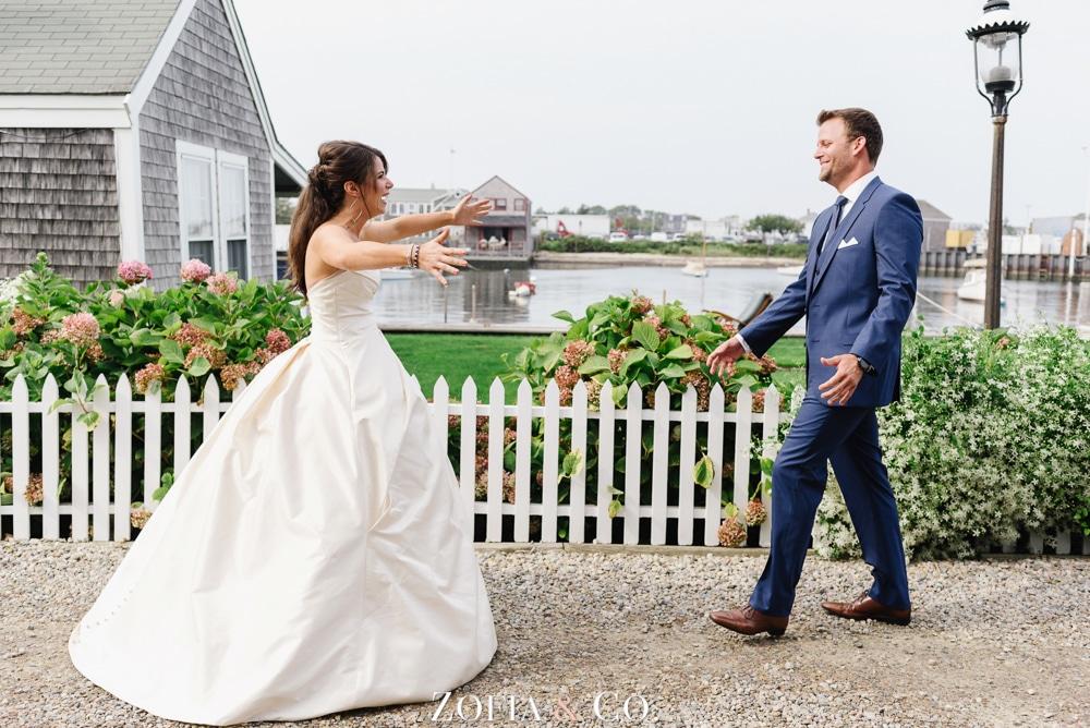 navy and coral nantucket wedding photography at white elephant by zofia and co