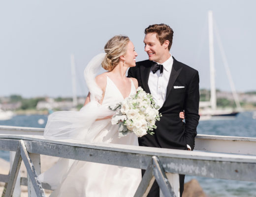 Bride and groom at Nantucket wedding on Brant Point